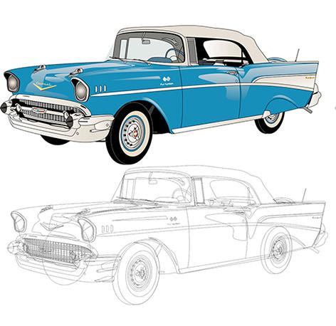 Vector convert cartoon blue car heat transfer heat transfer sticker maker Featured Image