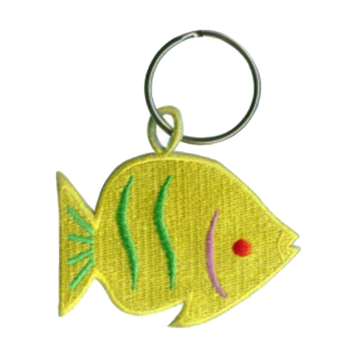 custom  fish logo textile embroidery keychain Featured Image