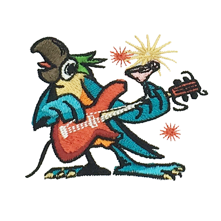 Bird embroidery illustration patch playing guitar singing Featured Image