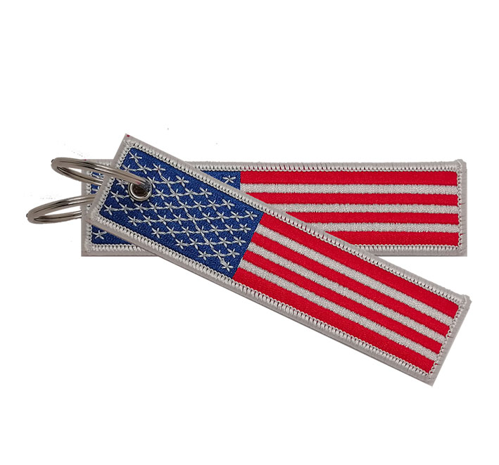 Custom made  cheap promotion polyester usa flag embroidery  keychain Featured Image