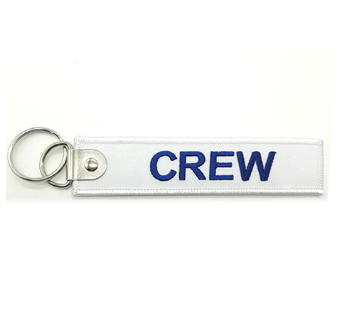 custom  crew logo promotional  fabric embroidery keychain Featured Image