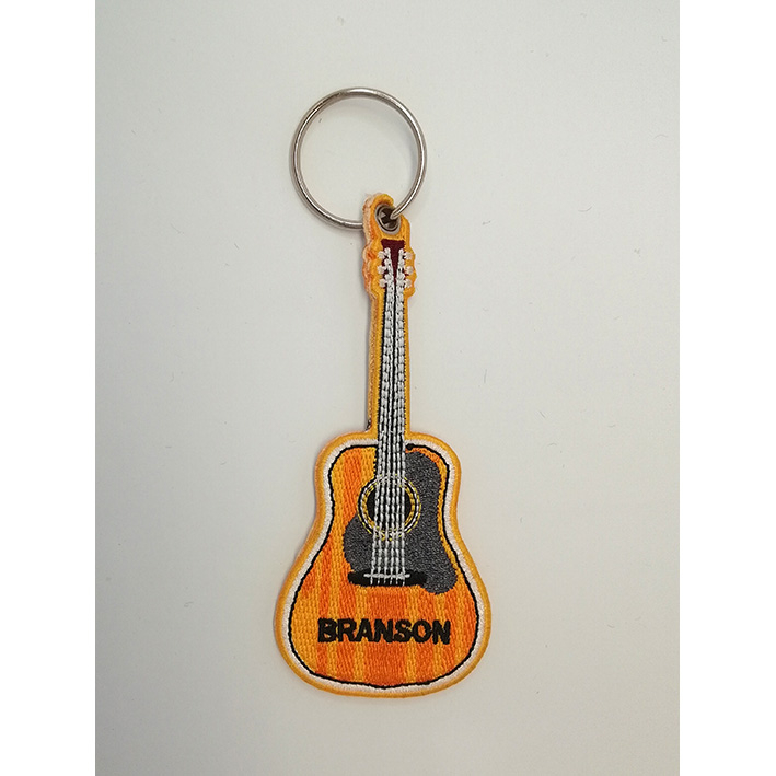 custom made guitar embroidery keychain Featured Image
