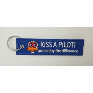 kiss a pilot letter embroidery keychain