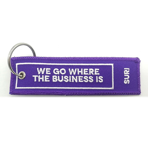 custom we go where the business is woven keychain manufacturer Featured Image