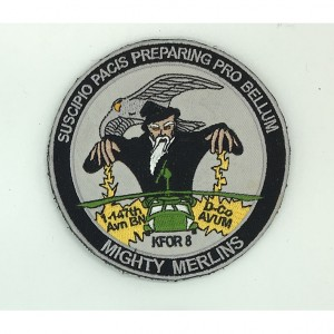 custom made mghty merlins logo embroidery patch