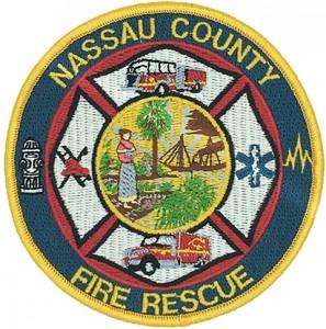 custom made nassau county fire rescue logo embroidery patch