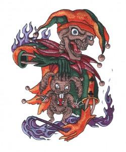 black brown funny cartoon patch manufacturer joker embroidery digitizing
