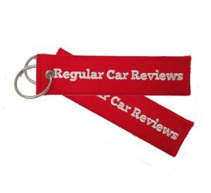 China custom  regular car reviews logo embroidery keychain