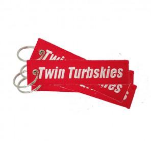 Custom  twin turbskies fabric embroidery keychain
