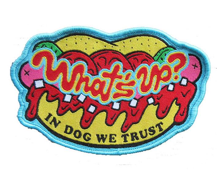 wholesale  wnat's up logo woven  patch souvenir manufacturers Featured Image