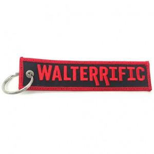 custom made cheap walterrific logo embroidered keychain