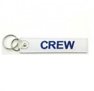 custom  crew logo promotional  fabric embroidery keychain