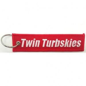 twin turbskies logo helicopter shape embroidery keychain