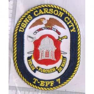 Custom made  usns carson city logo embroidery patch